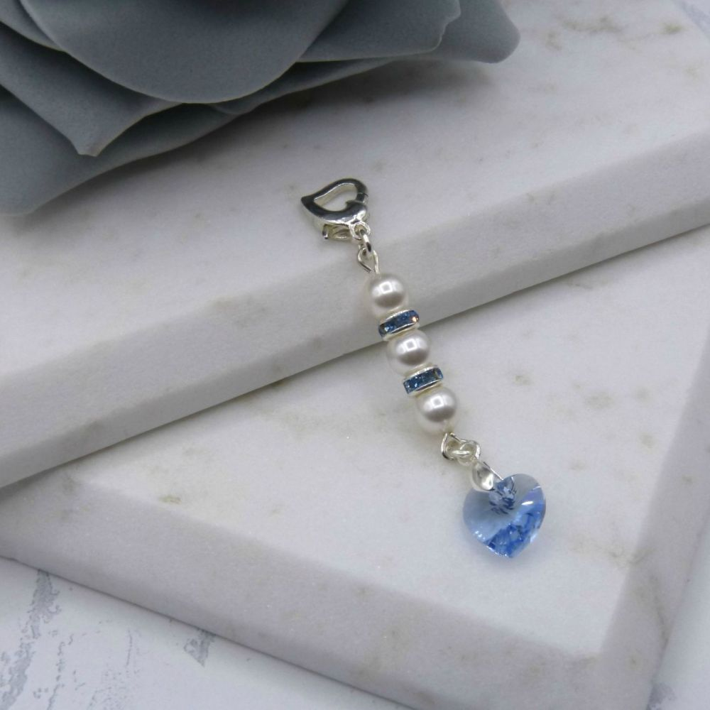 Something Blue Pearl & Crystal Heart Bouquet/Garter Charm