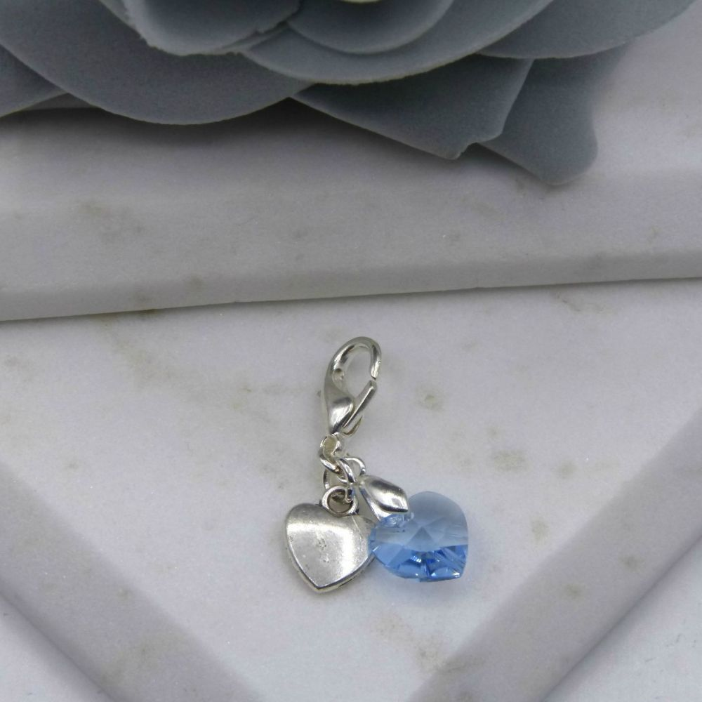 Something Blue Silver Heart Bouquet/Garter Charm
