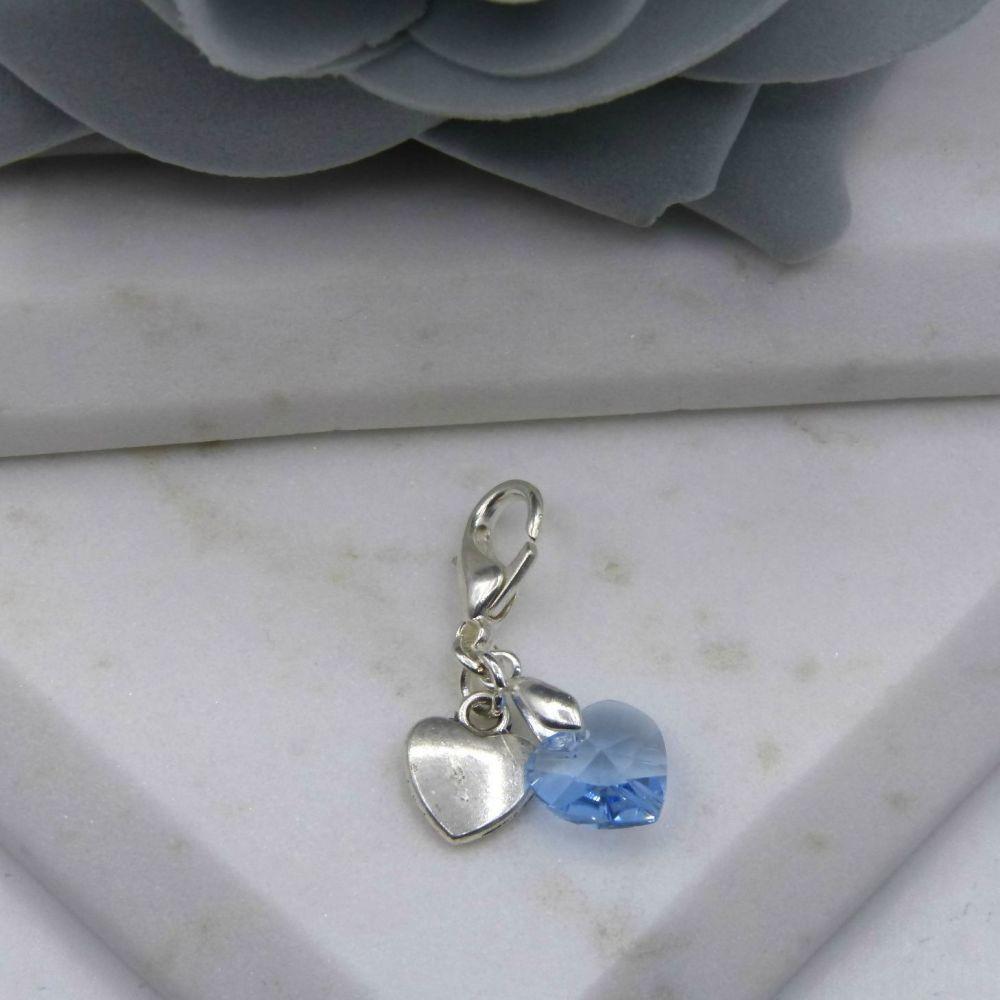 Something Blue Silver Heart Bouquet/Garter Charm