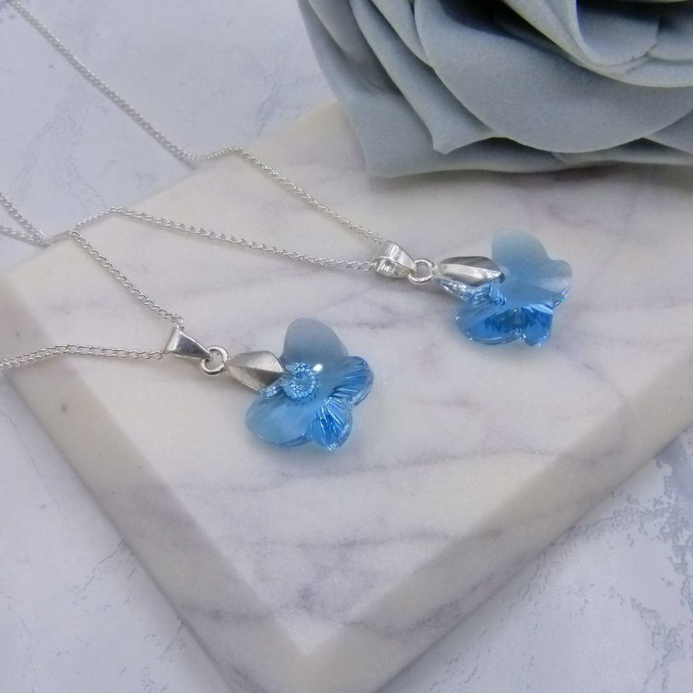Aqua Butterfly Necklaces x2