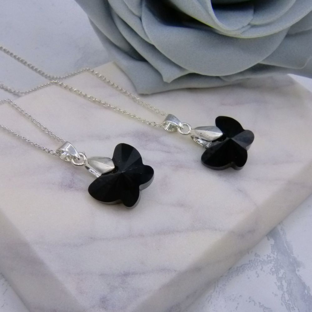 Black Butterfly Pendants x2