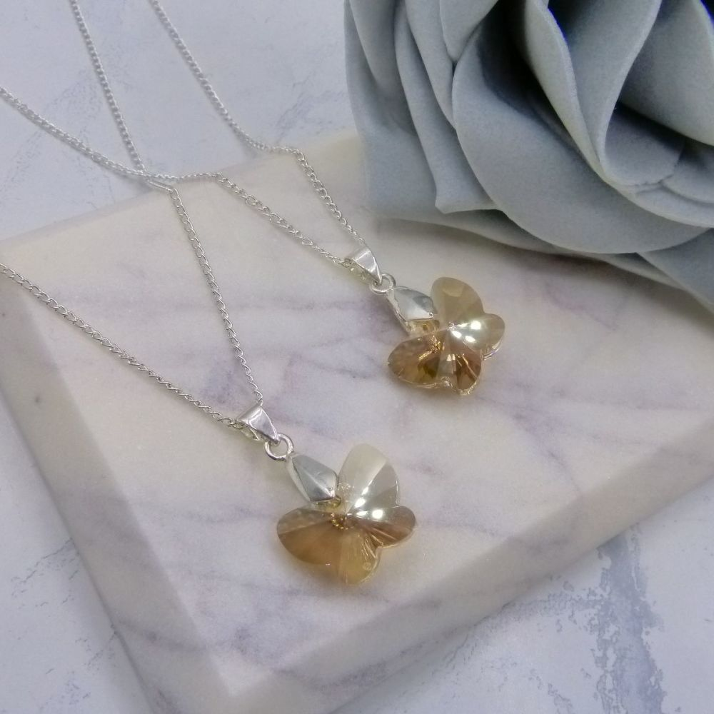 Golden Butterfly Necklaces x2