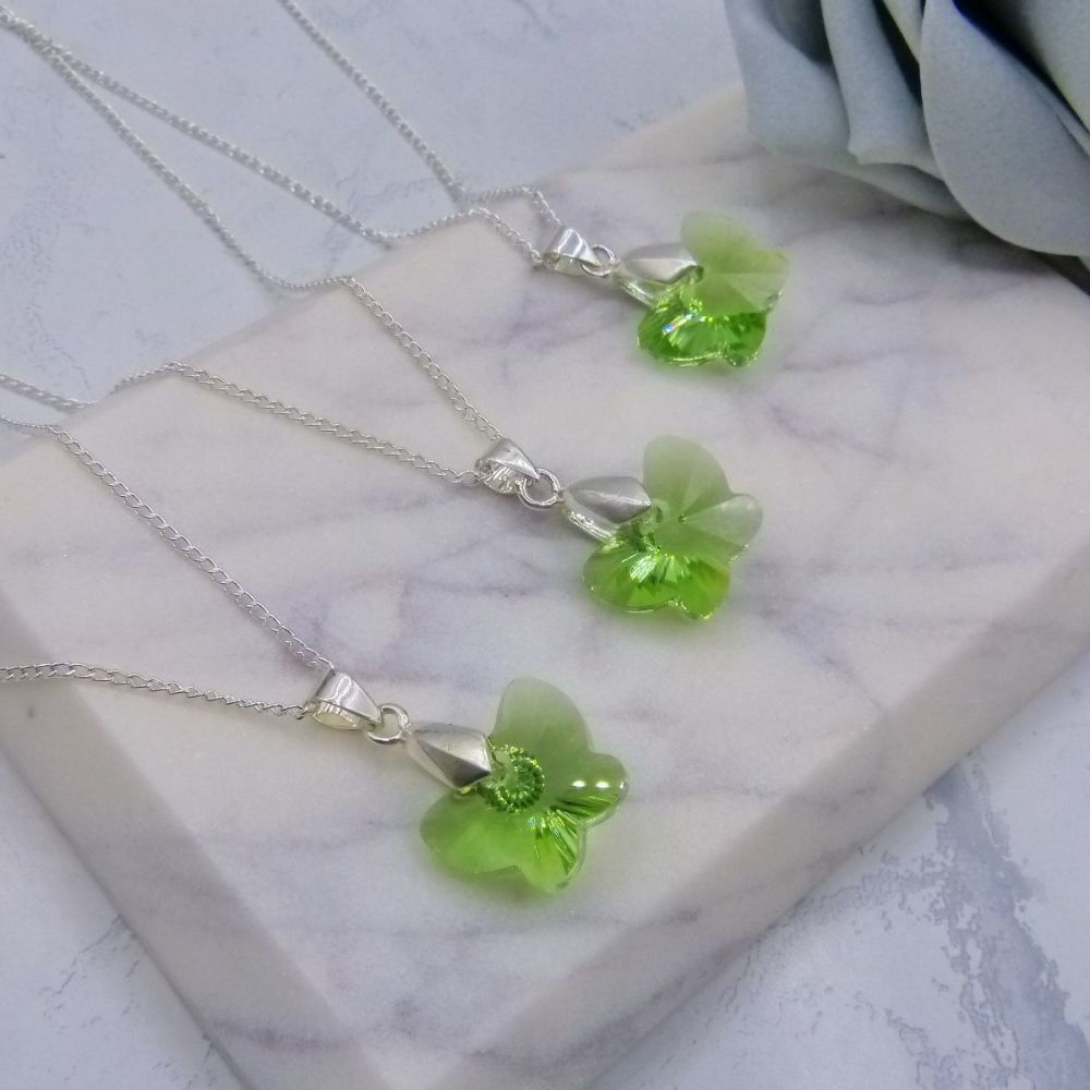Green Butterfly Necklaces x3