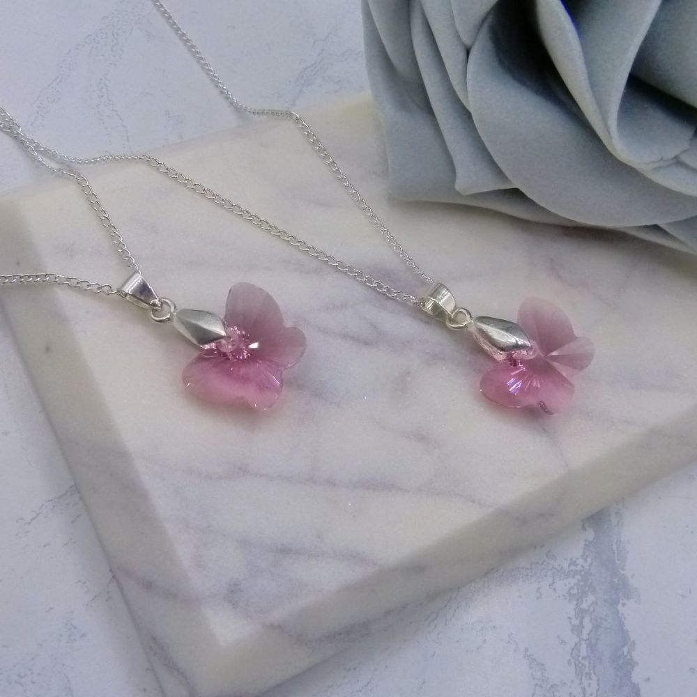 Pink Butterfly Necklaces x2