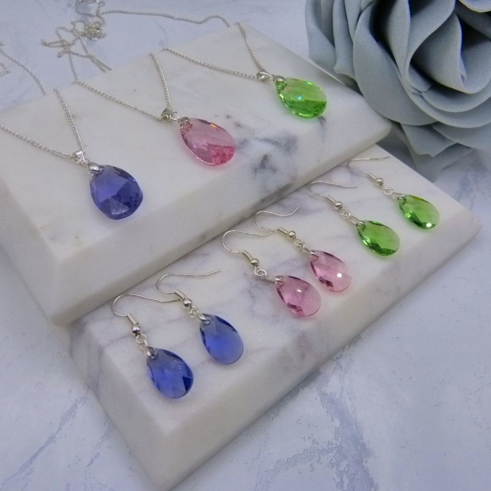 Pear Crystal Jewellery Set