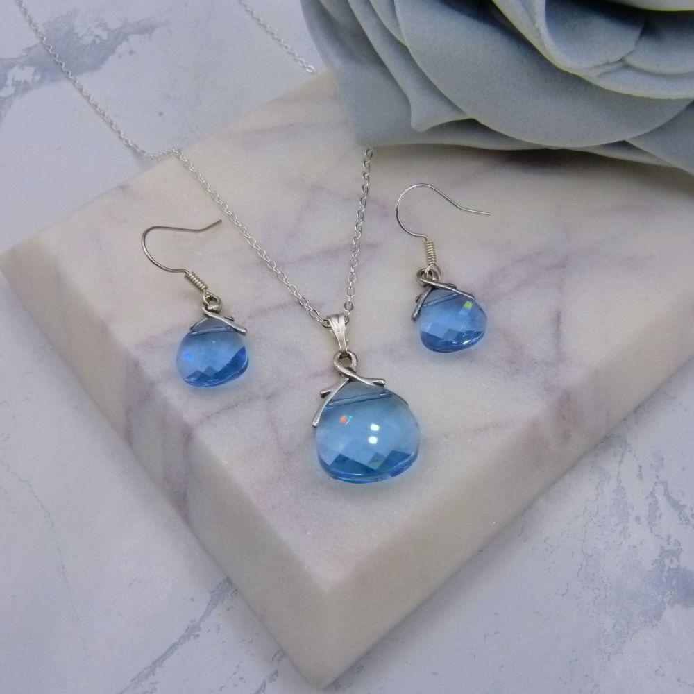 Aquamarine Crystal Jewellery Set (NEW)