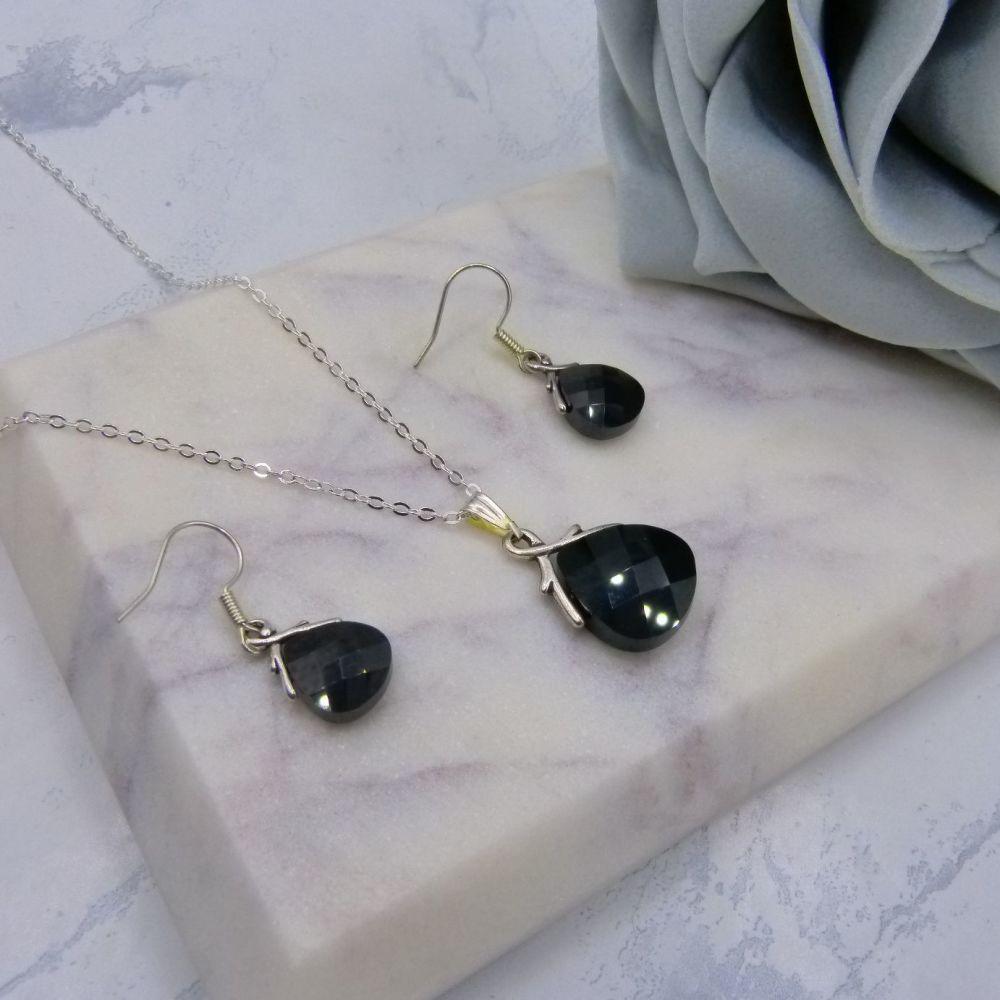 Jet Black Crystal Jewellery Set (NEW)