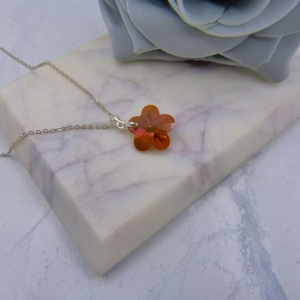 Copper Crystal Flower Pendant