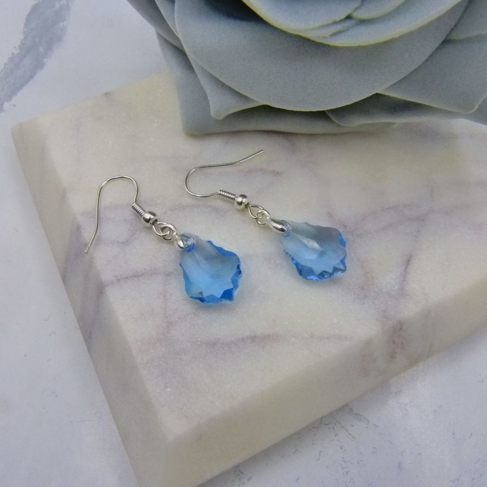Aquamarine Crystal Earrings