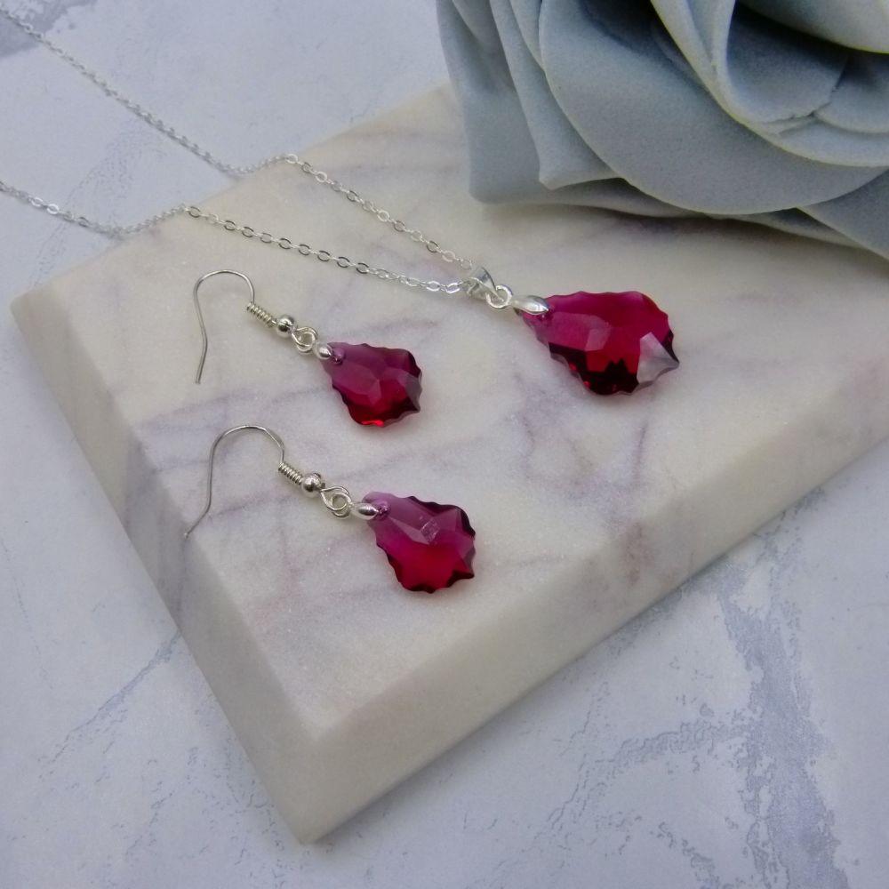 Dark Red Crystal Jewellery Set