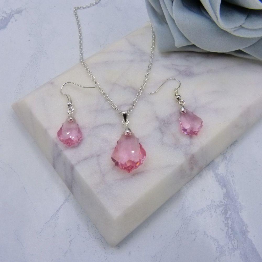 Light Pink Crystal Jewellery Set