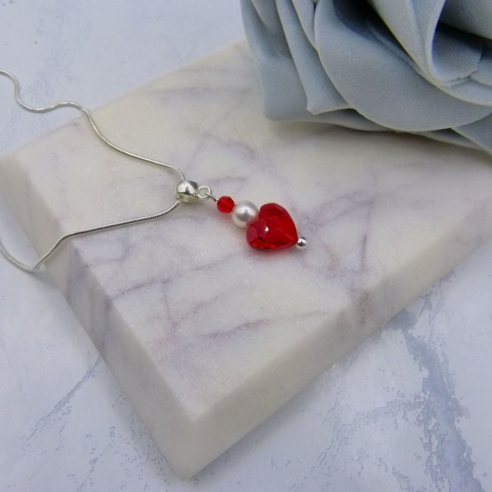 Red Crystal Heart & Pearl Pendant