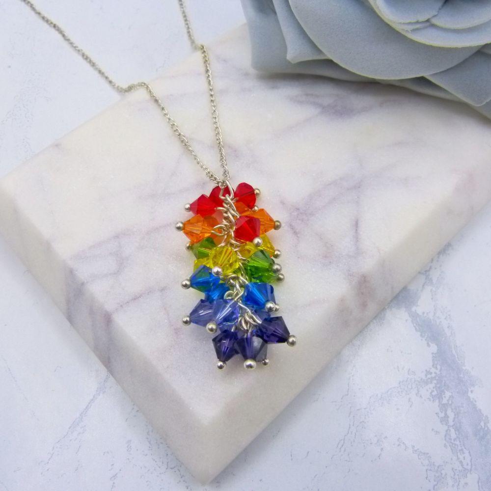 Rainbow Crystal Cluster Pendant