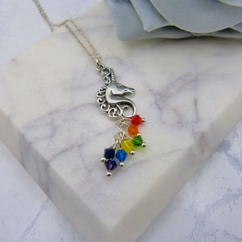 Silver Rainbow Crystal Unicorn Pendant