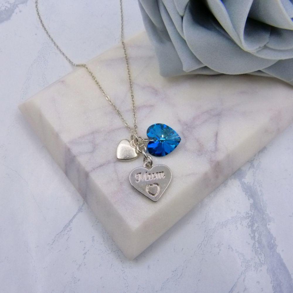 'Mum' Charm Triple Heart Pendant