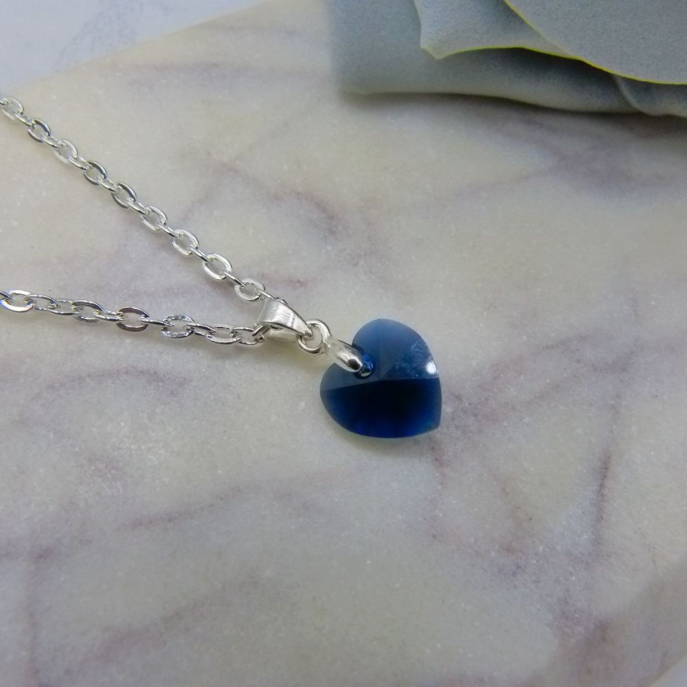 Dark Blue Small Crystal Heart Pendant