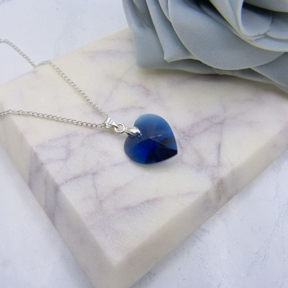 Dark Blue Large Crystal Heart Pendant