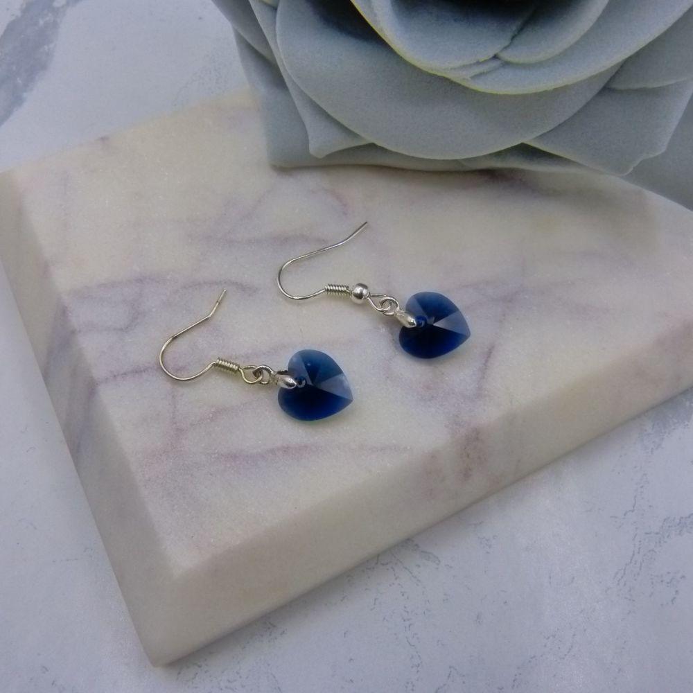 Dark Blue Crystal Heart Earrings