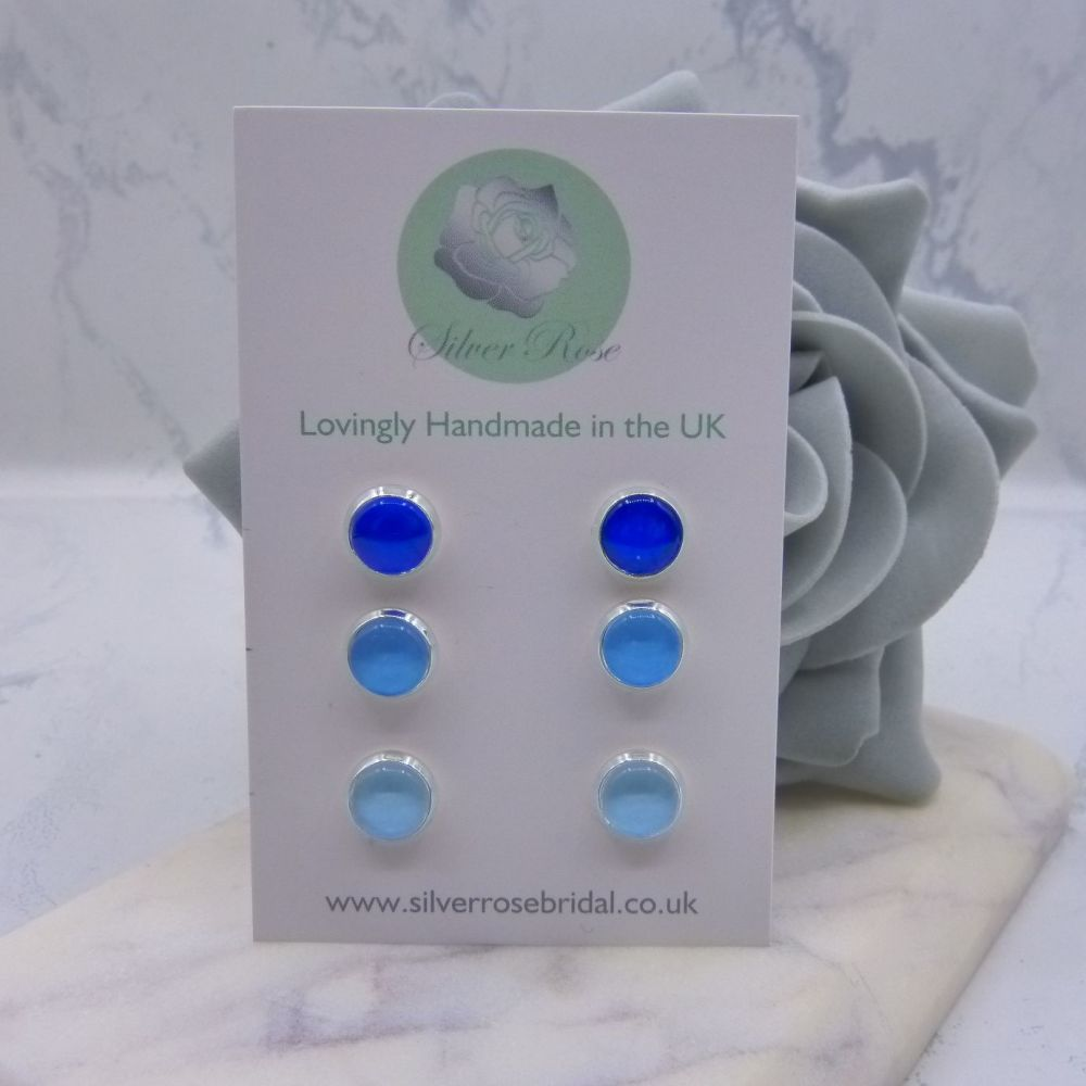 3 Pairs 8mm Stud Earrings - Blues