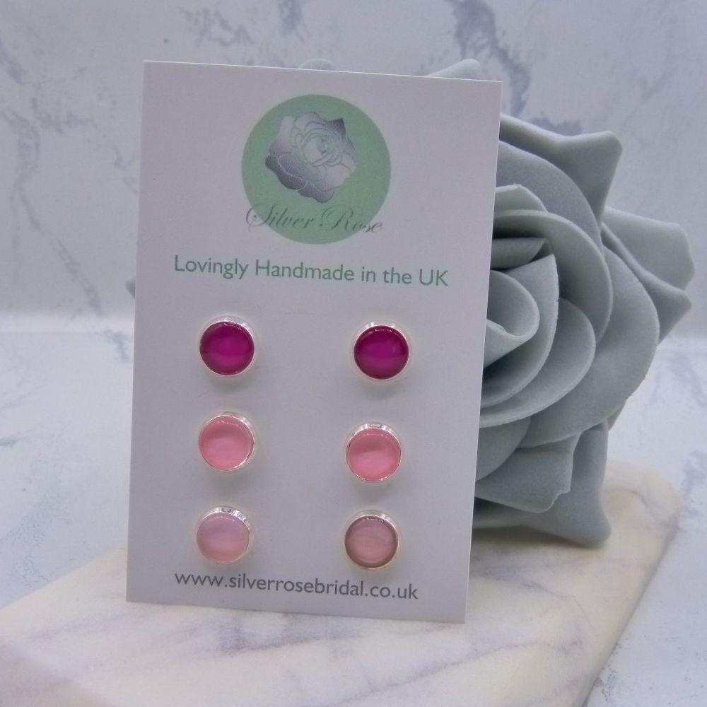 3 Pairs 8mm Stud Earrings - Pinks