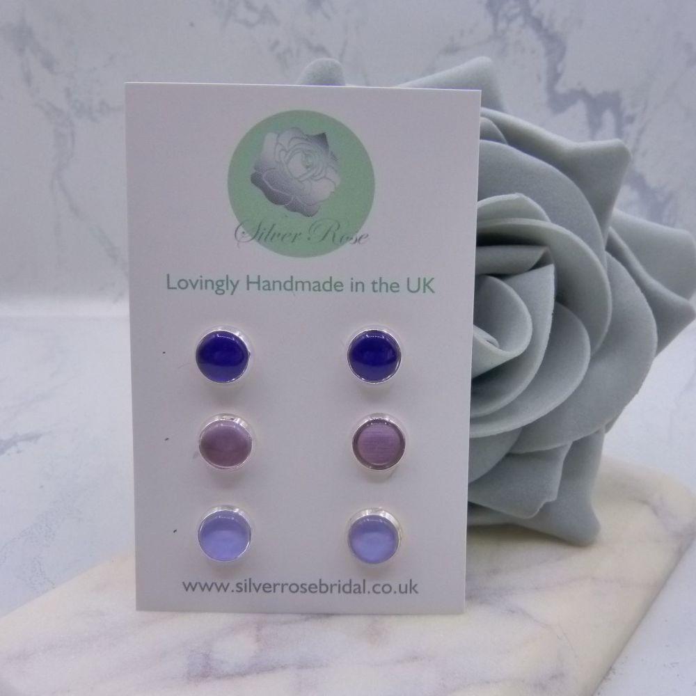 3 Pairs 8mm Stud Earrings - Purples