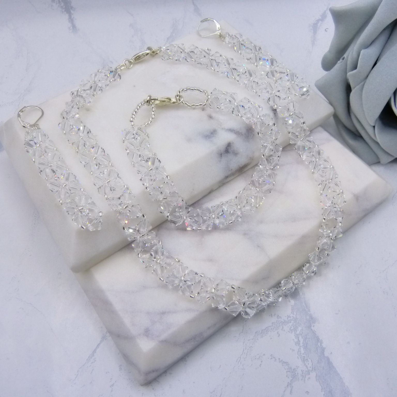Swarovski Crystal 3 Piece Bridal Jewellery Set UK
