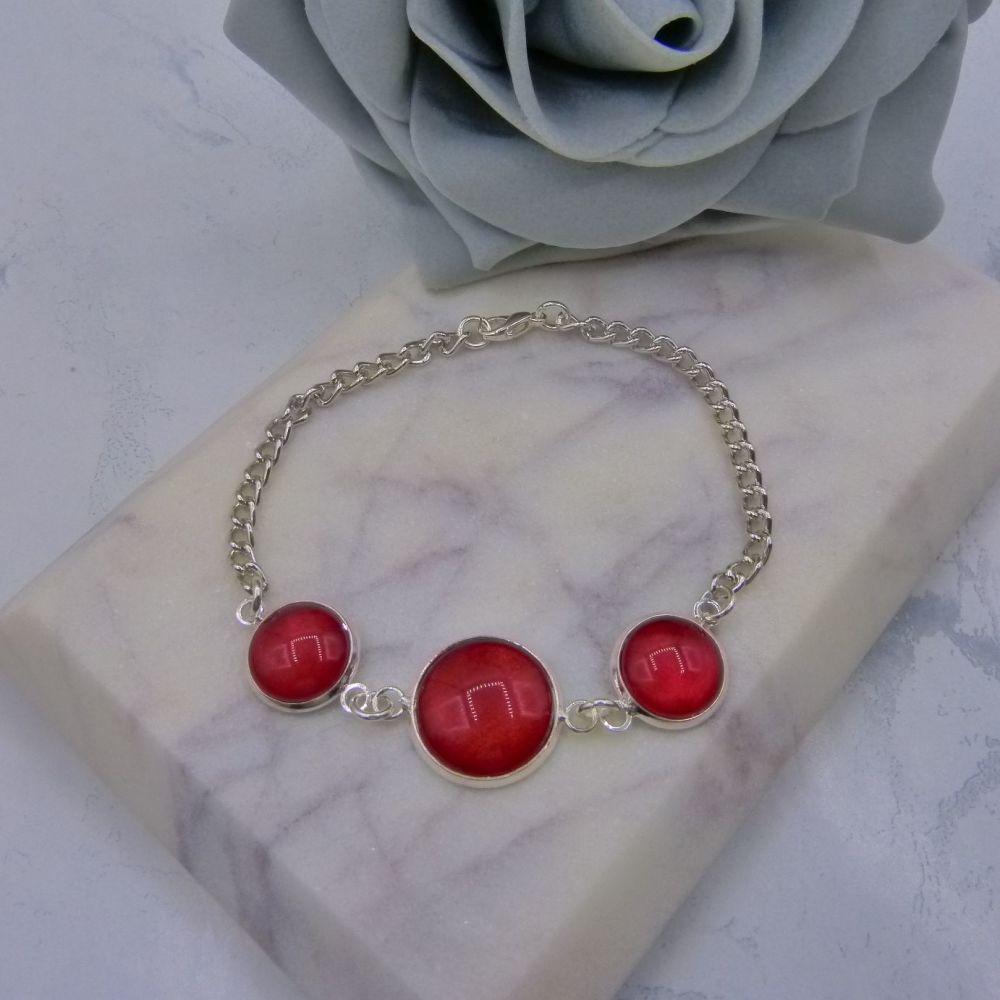 Triple Glass Cabochon Chain Bracelet
