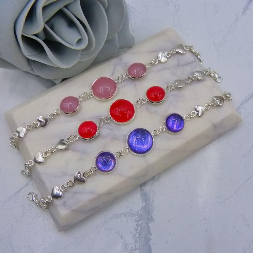 Triple Glass Cabochon Heart Link Bracelet