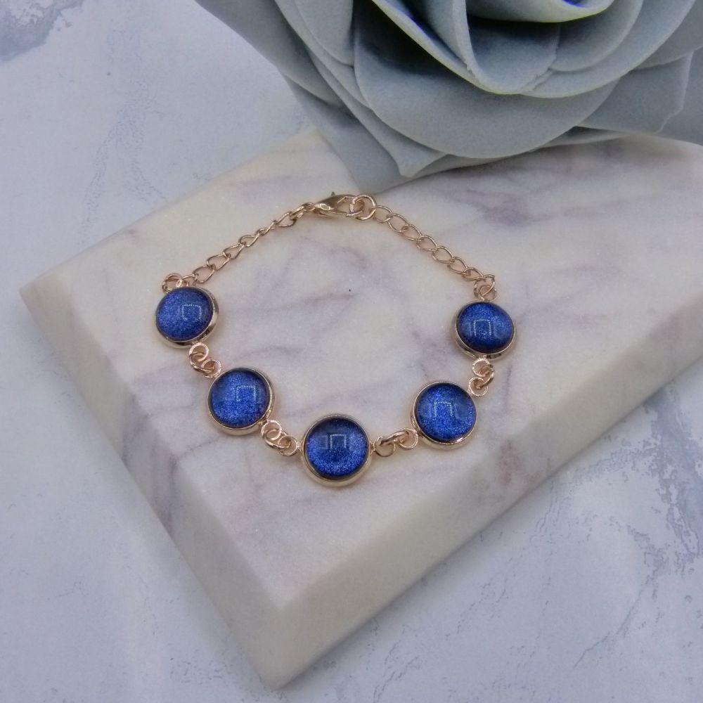 10mm Rose Gold Navy Blue Sparkle Bracelet
