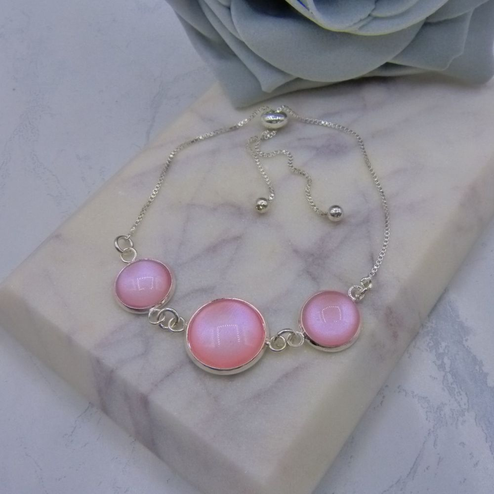 Pink Pearl Triple Domed Adjustable Bracelet