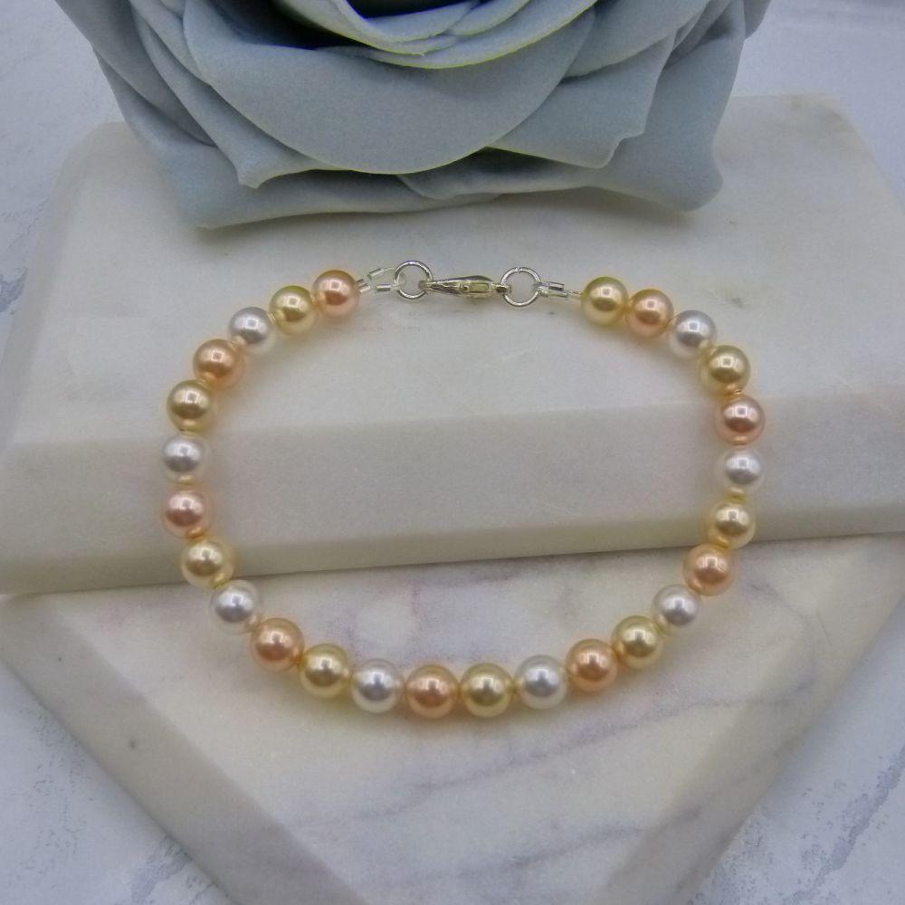 Peach Cobbler Pearl Bracelet