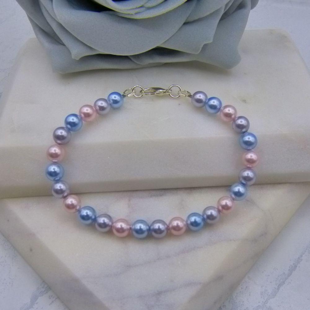 Tri Pastel Coloured Pearl Bracelet