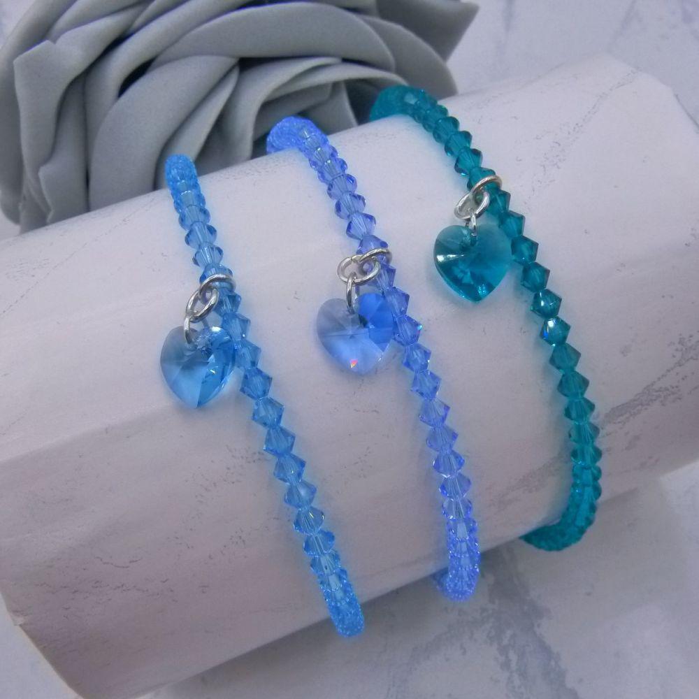 Sarah Crystal Heart Charm Anklets (Blues)