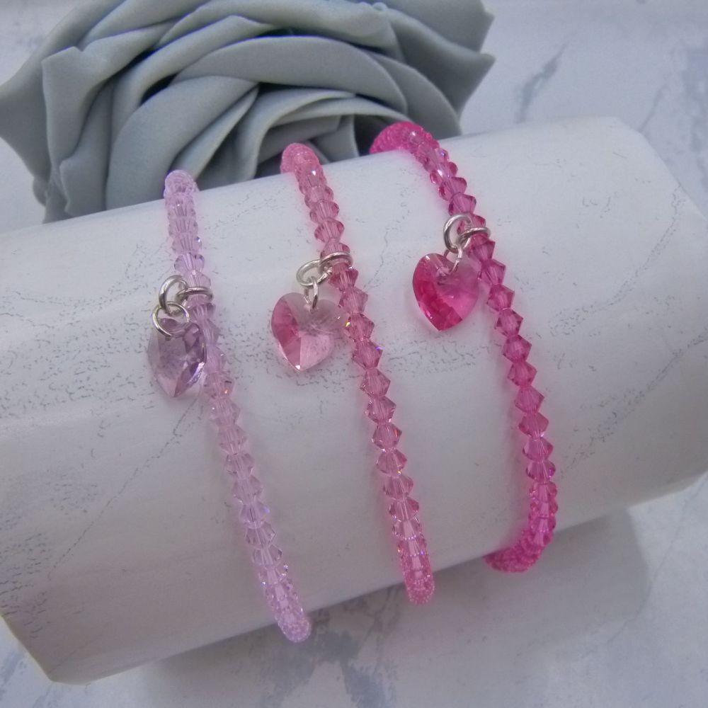 Sarah Crystal Heart Charm Anklets (Pinks)