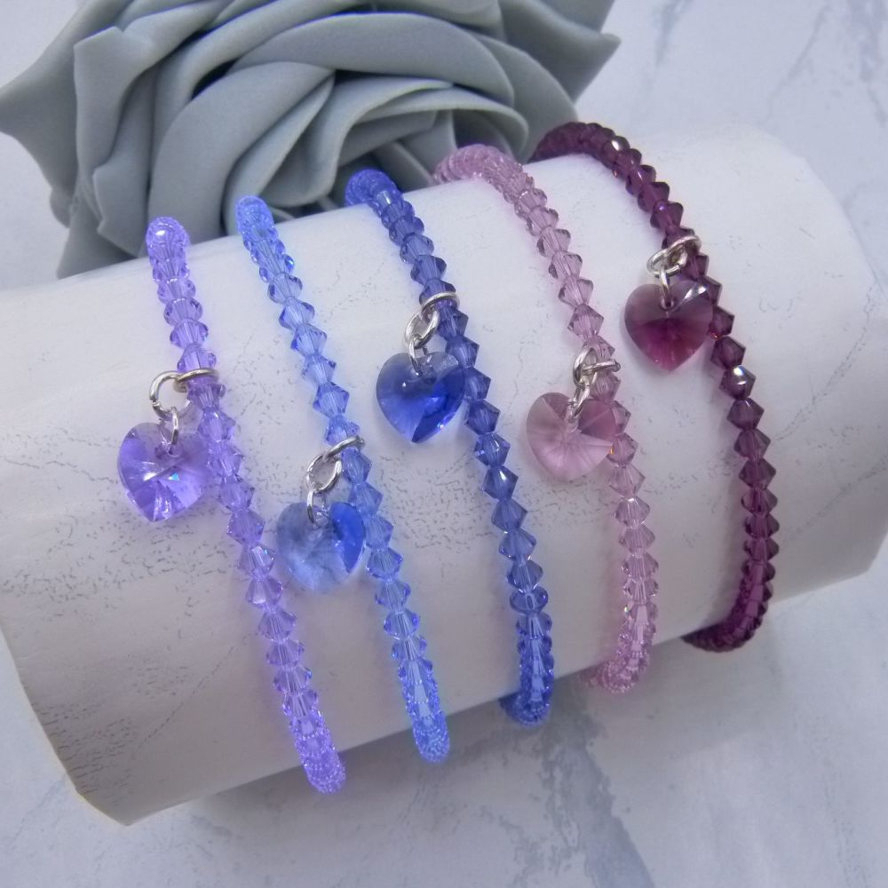 Sarah Crystal Heart Charm Anklets (Purples)