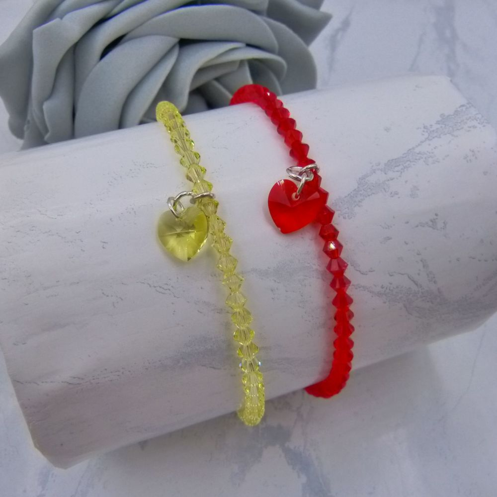 Sarah Crystal Heart Charm Anklets (Red & Yellow)