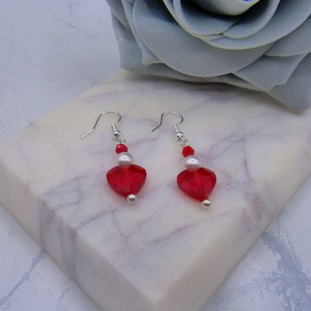 Red Crystal Heart & Pearl Earrings