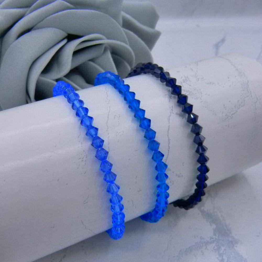 Set of 3 Blue Bicone Crystal Bracelets