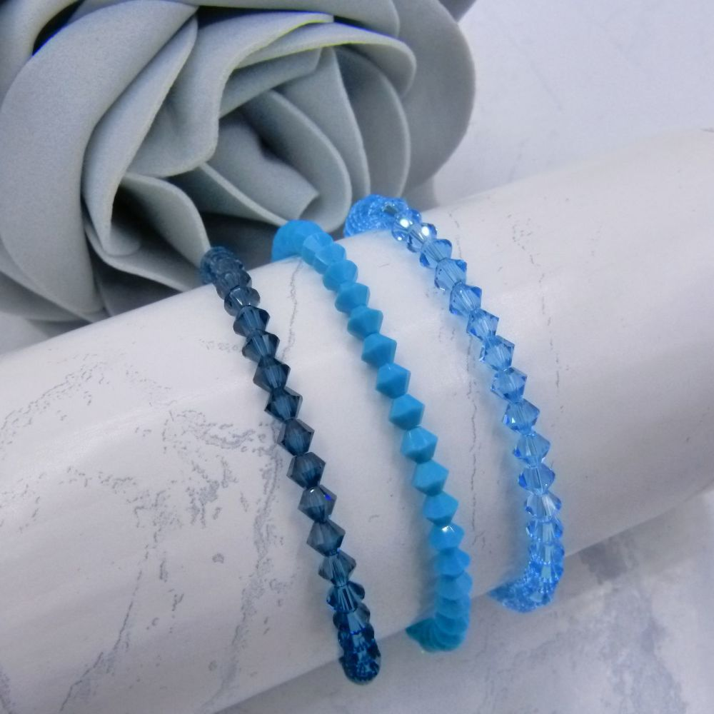 Set of 3 Crystal Bracelets - Blue