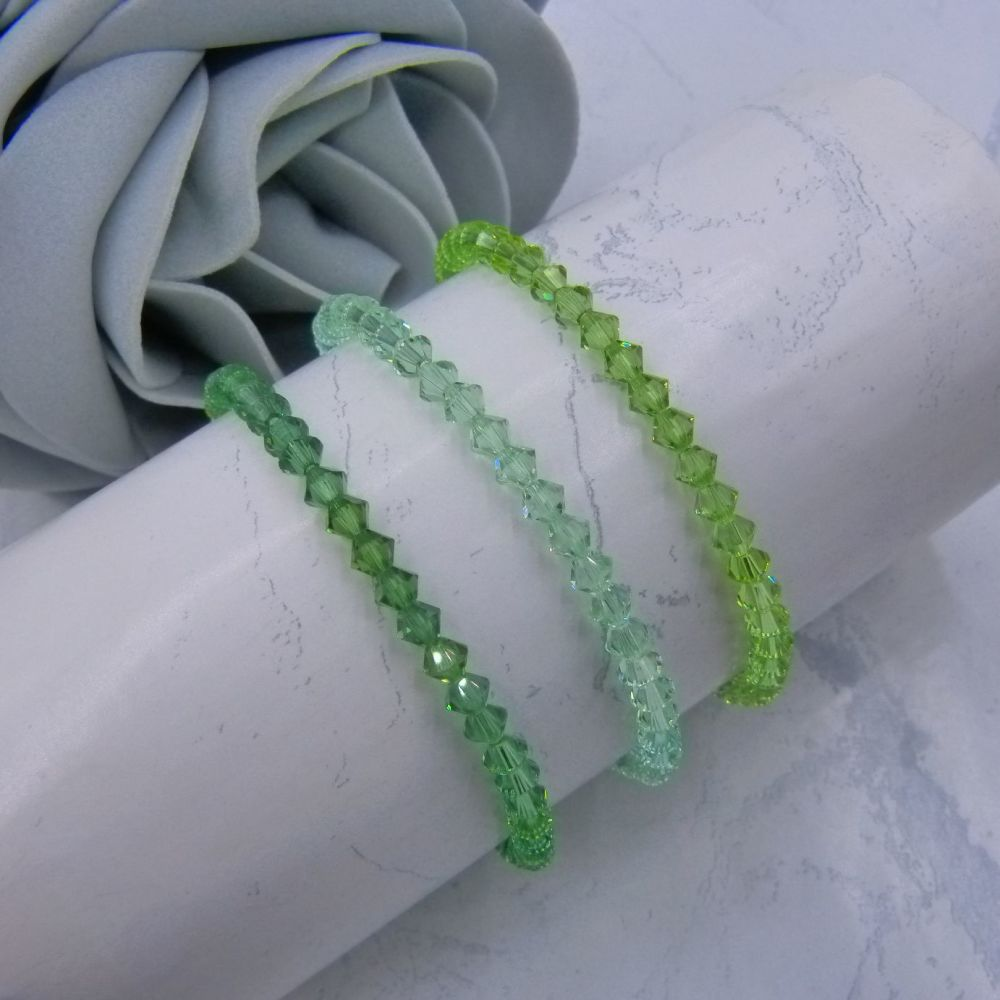 3 Green Bicone Crystal Bracelets