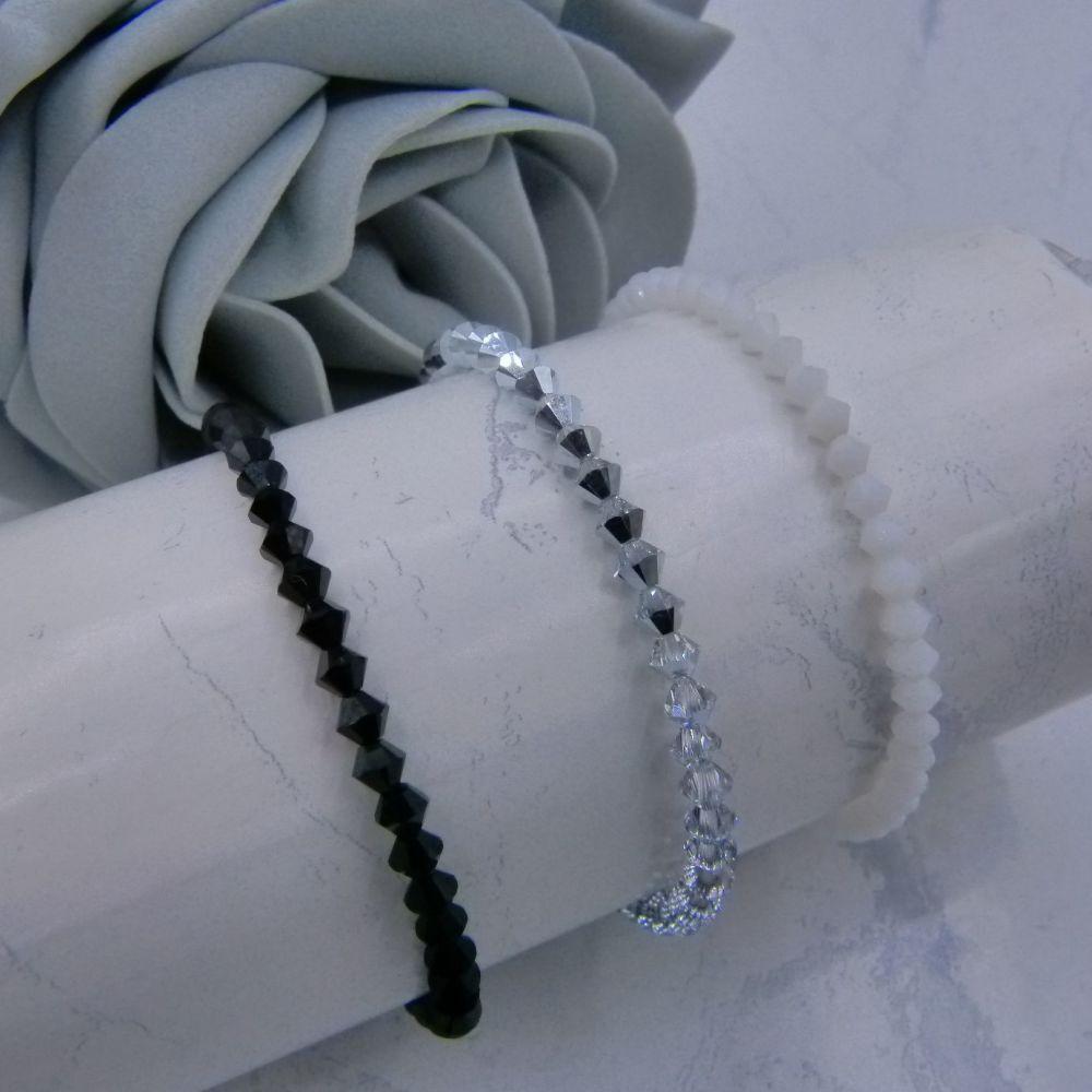 Monochrome Set of 3 Crystal Bracelets