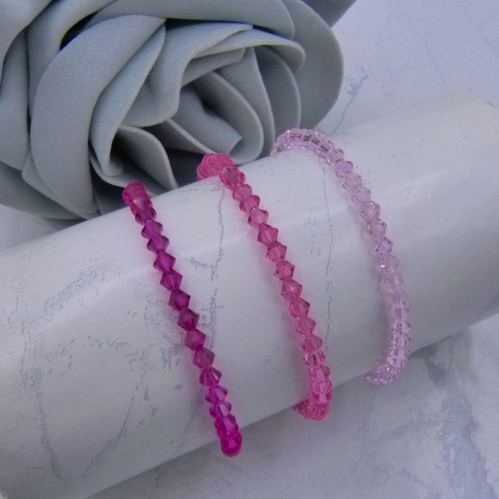 3 Pink Crystal Bracelets