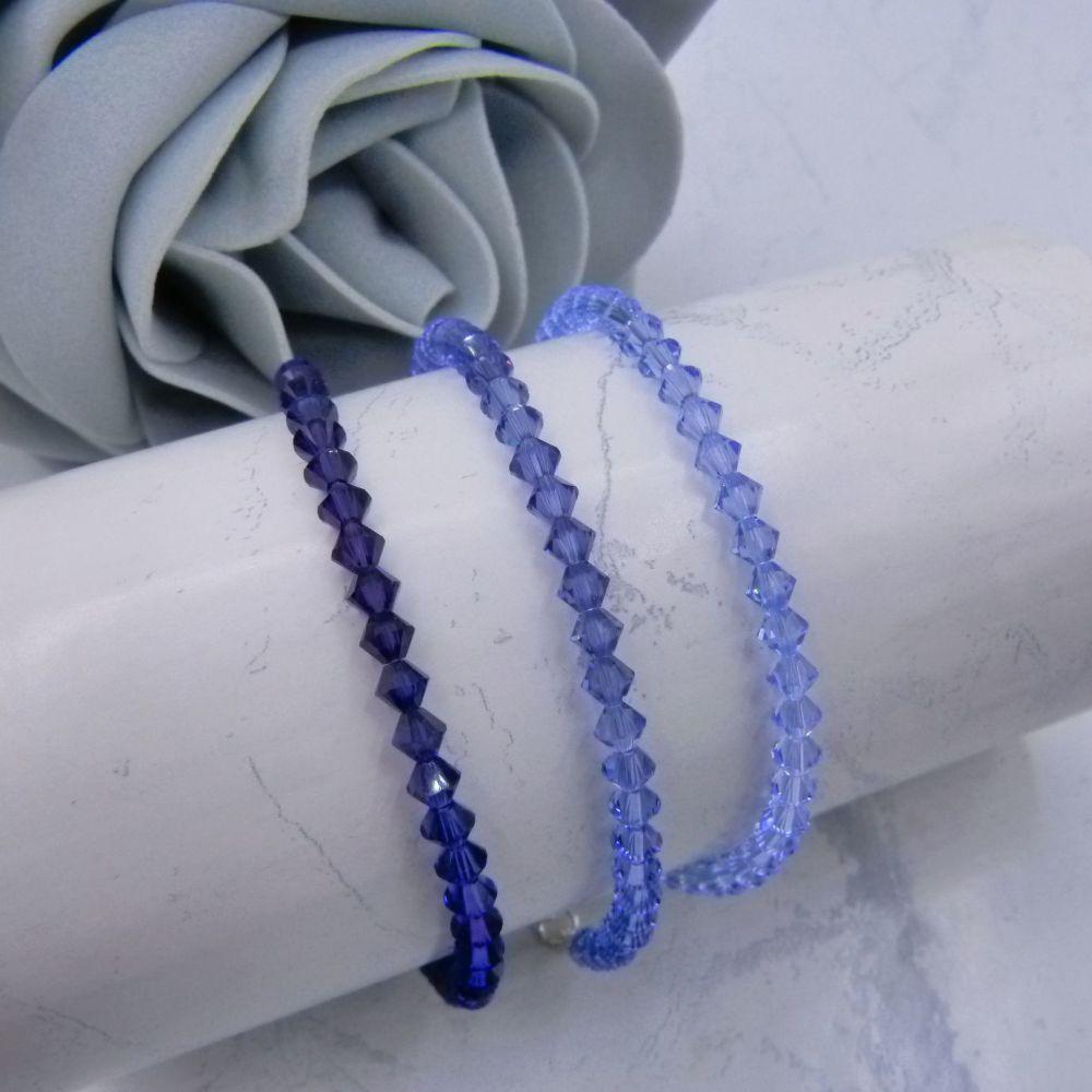 Set of 3 Purple Crystal Bracelets