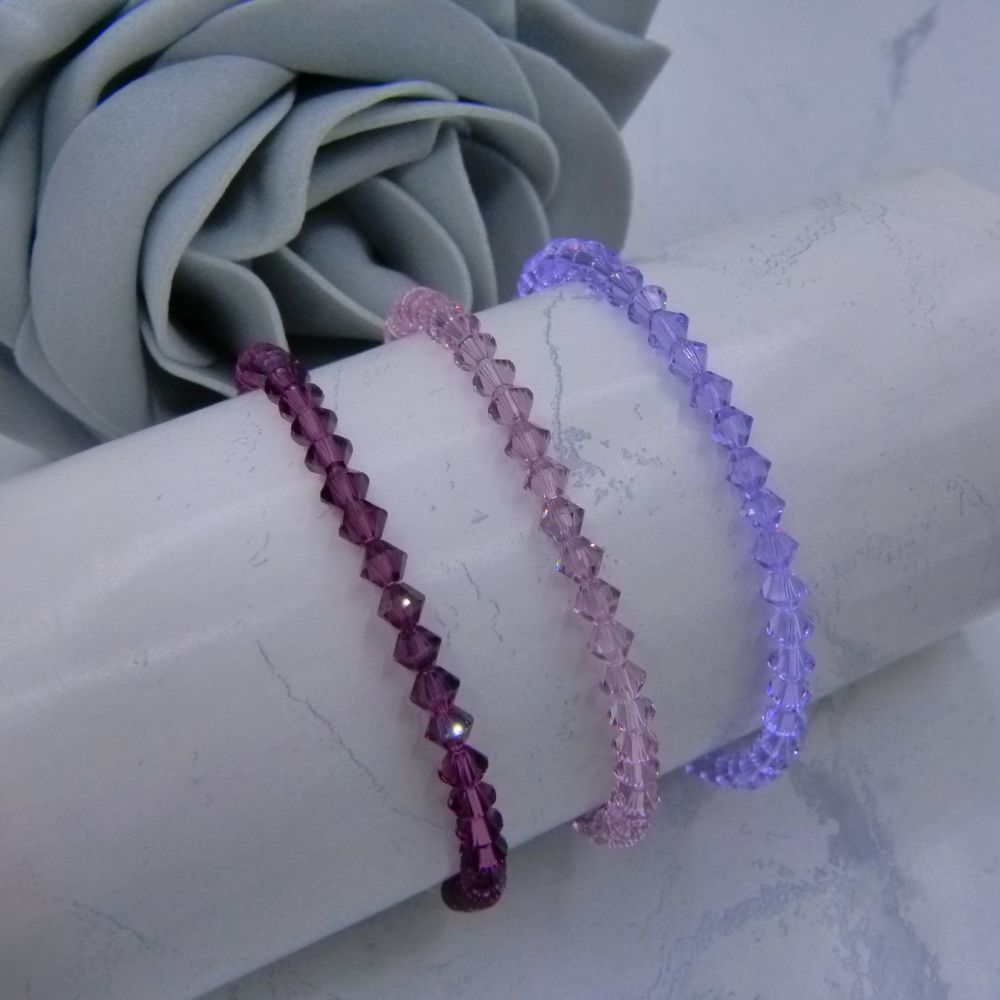 3 Amethyst Purple Crystal Bracelets