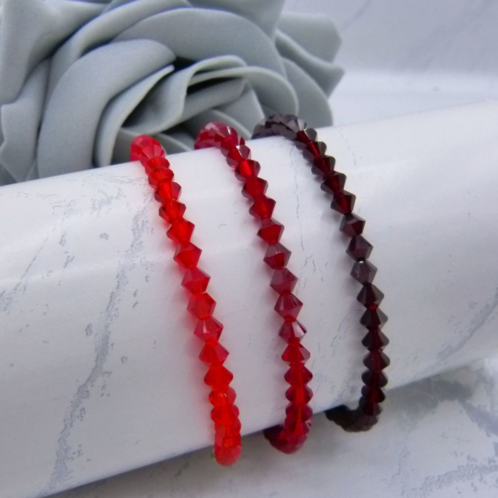 3 Red Crystal Bracelets