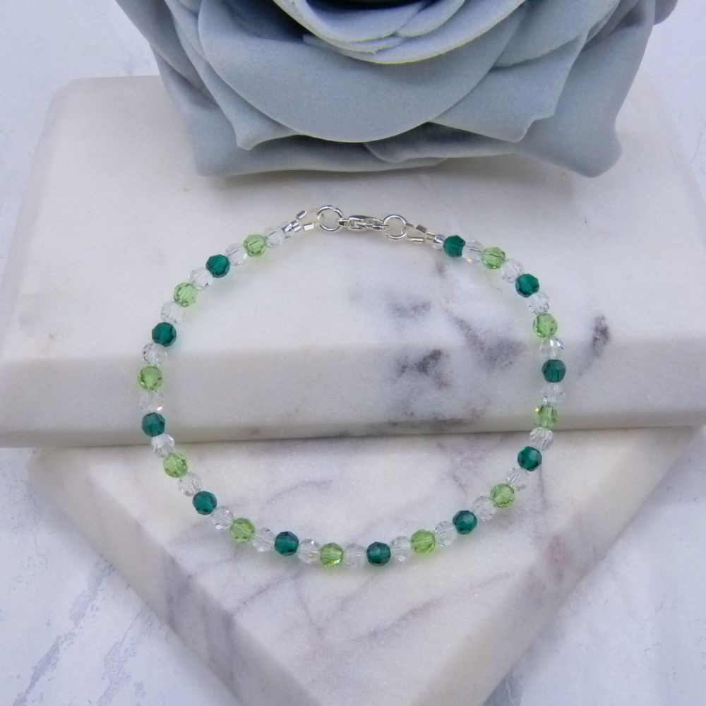 Emerald & Peridot Green Round Crystal Bracelet