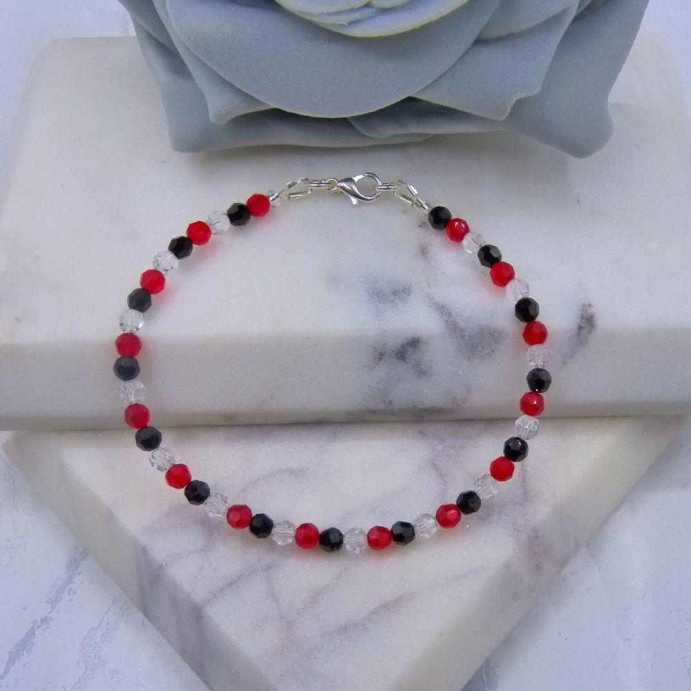 Jet Black/Light Siam Red & Clear Round Crystal Bracelet