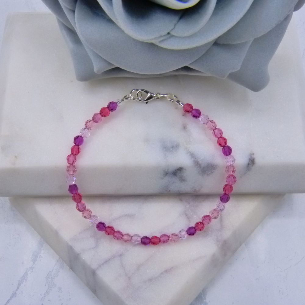 Mixed Shades of Pink Crystal Bracelet