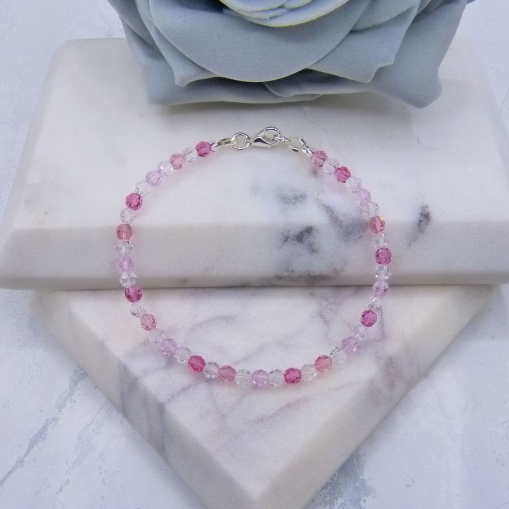 Mixed Pinks & Clear Round Crystal Bracelet