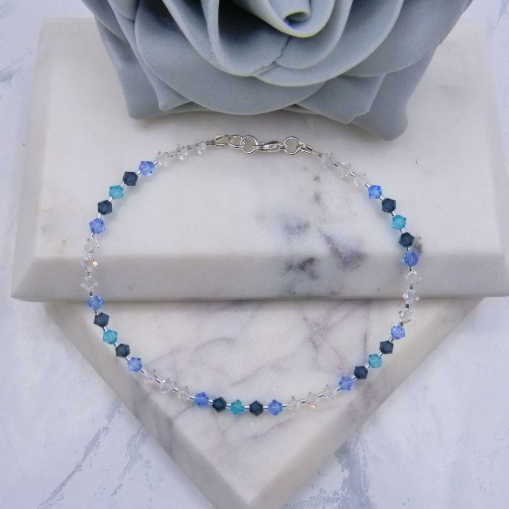 Shades of Blue & Clear Crystal Anklet